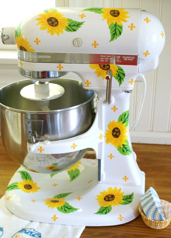 sunflower kitchenaid decals will spruce up any plain piece