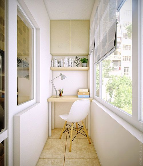 tiny neutral balcony with cabinets, an open shelf and a tiny desk for studying and working