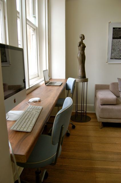 design a shared workspace in your living room using a windowsill, no need for a home office