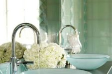 15 frosted aqua glass sinks just scream seaside, they will remind you of your holidays