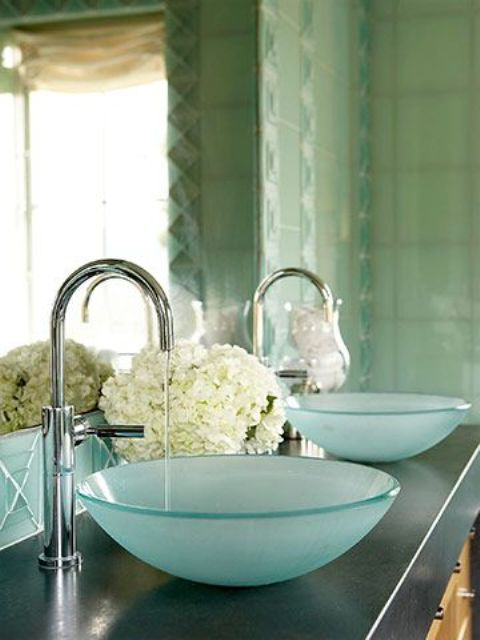 frosted aqua glass sinks just scream seaside, they will remind you of your holidays