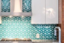 15 turquoise geo tiles with white grout for a modenr and colorful feel