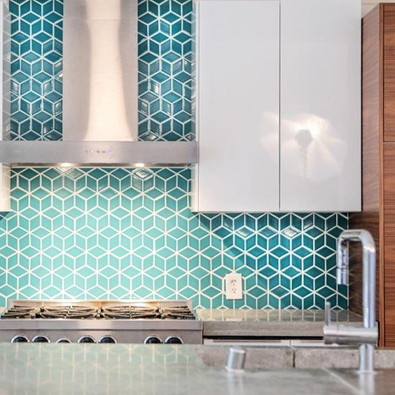 turquoise geo tiles with white grout for a modenr and colorful feel