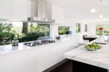 15 ultra-modern white kitchen with window backsplashes and windows