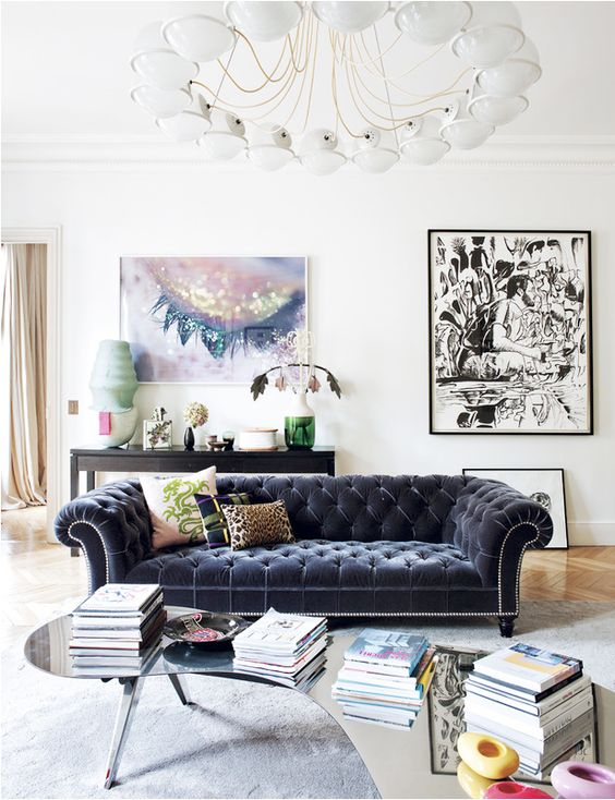 a dark blue diamond upholstery sofa for a stunning statement