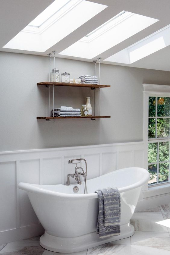 place skylights over the bathtub to make your bathing experience private