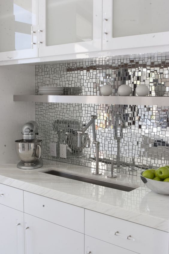 textural mirror kitchen backsplash spruces up the white kitchen