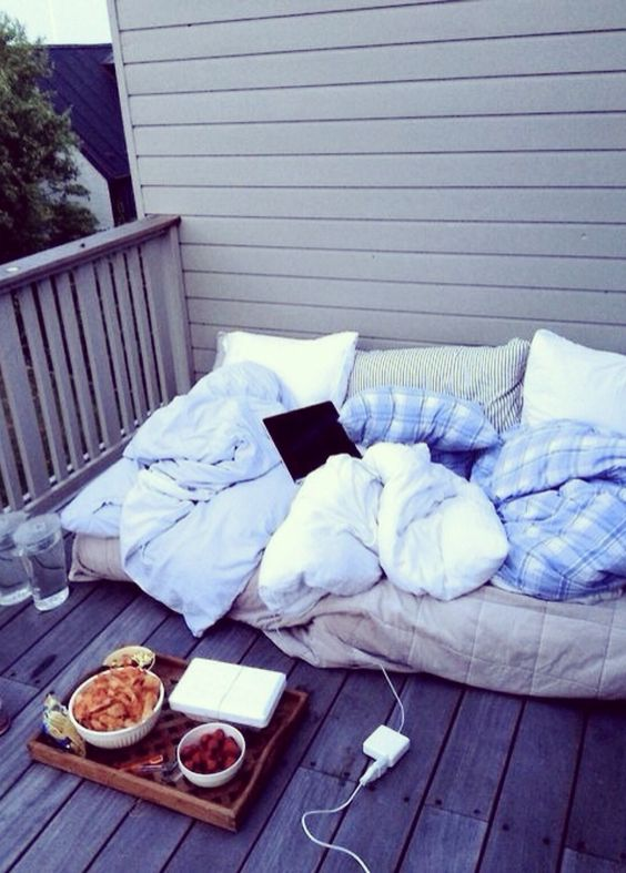 throw a large mattress on the balcony, add blankets and pillows and enjoy spending time here