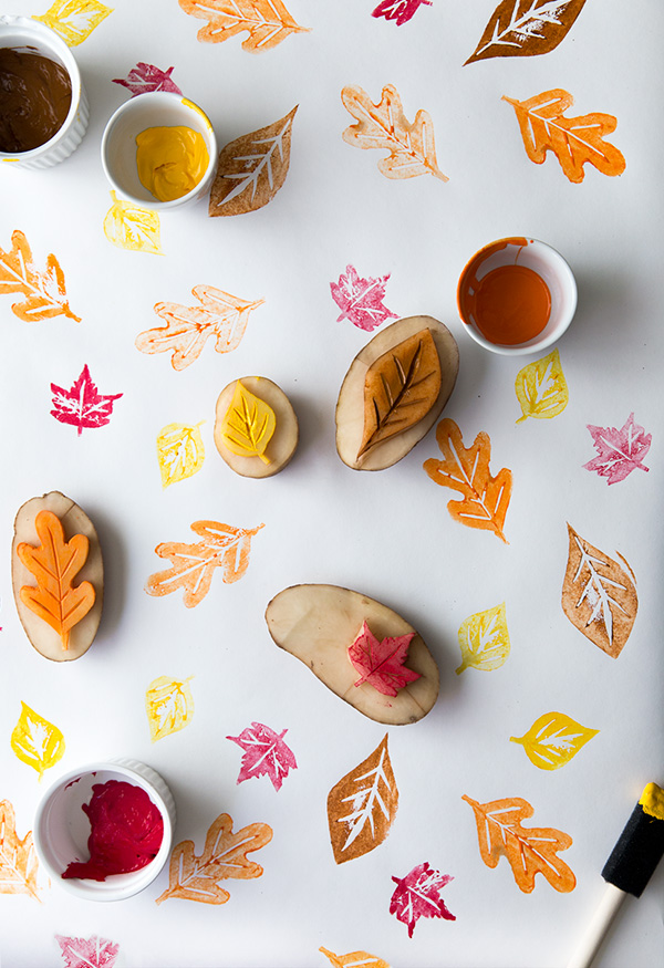 DIY potato fall leaf stamping