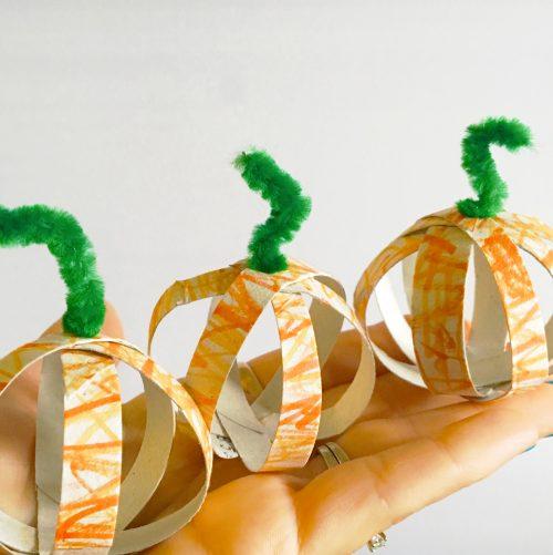 DIY toilet paper tube pumpkins