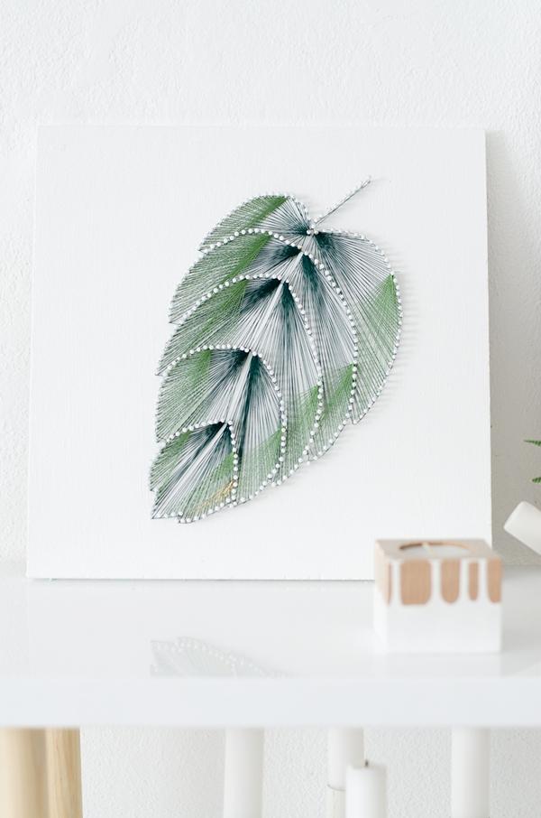 DIY ombre tropical leaf string art (via sinnenrausch.blogspot.ru)