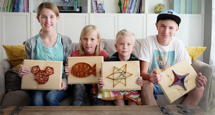 DIY kids' string art piece
