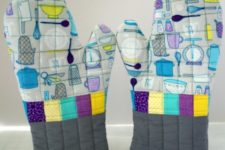 DIY quilted bbq oven mitt