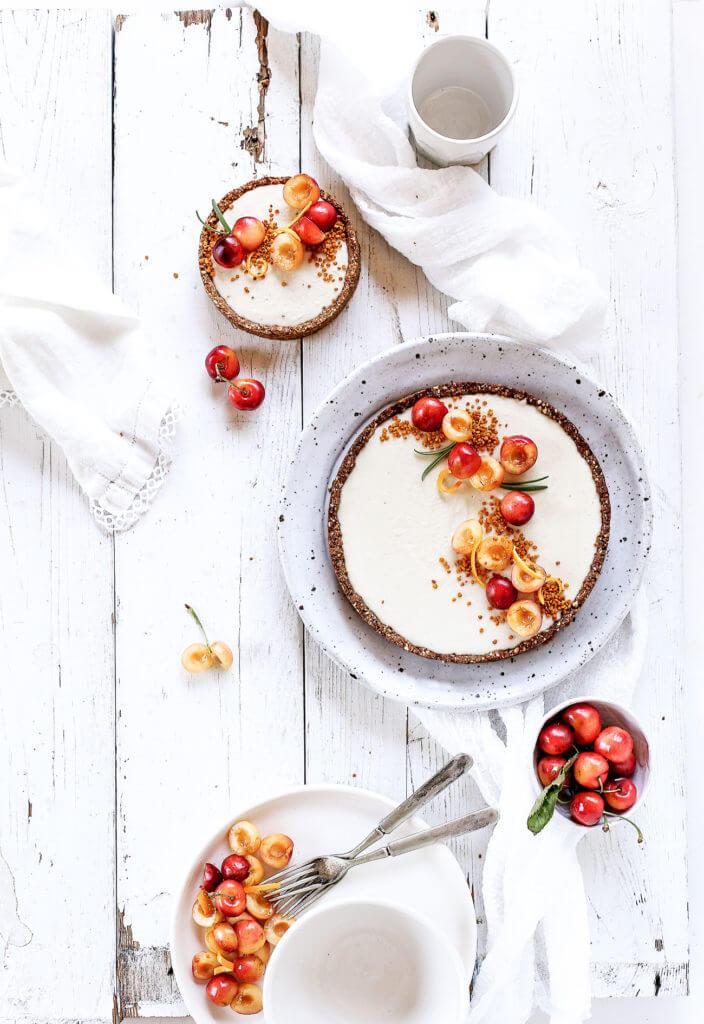 DIY raw vanilla bean cherry cheesecake (via https:)