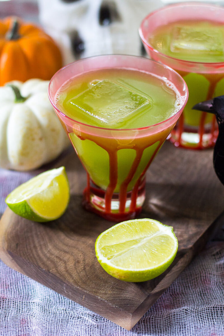 DIY sour Frankenstein cocktail (via thegirlonbloor.com)