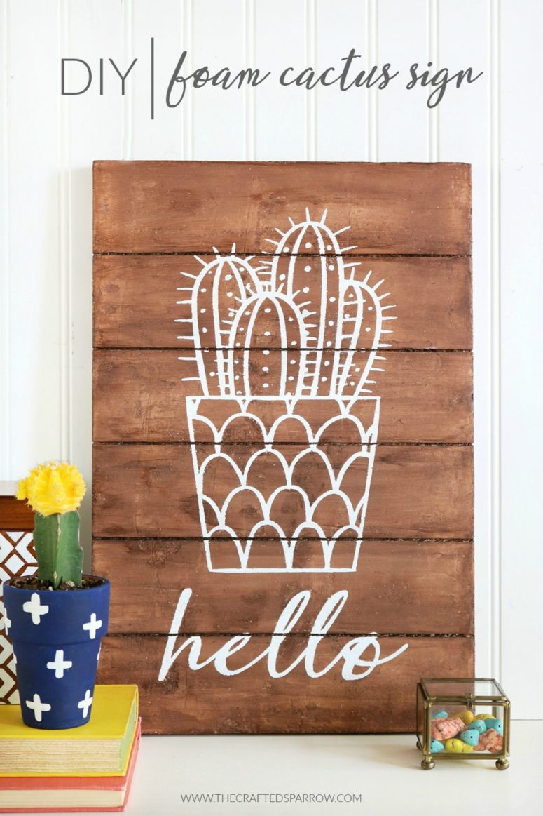 DIY foam cactus sign (via www.thecraftedsparrow.com)