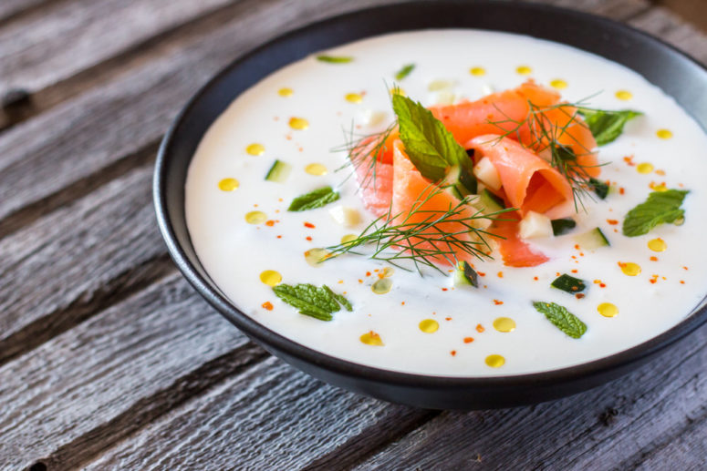 DIY yogurt cucumber and salmon soup (via https:)