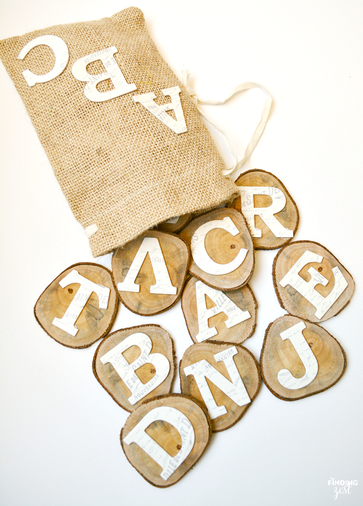 DIY wood alphabet learning slices (via www.findingzest.com)