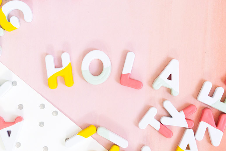DIY paint dipped alphabet magnets (via sarahhearts.com)