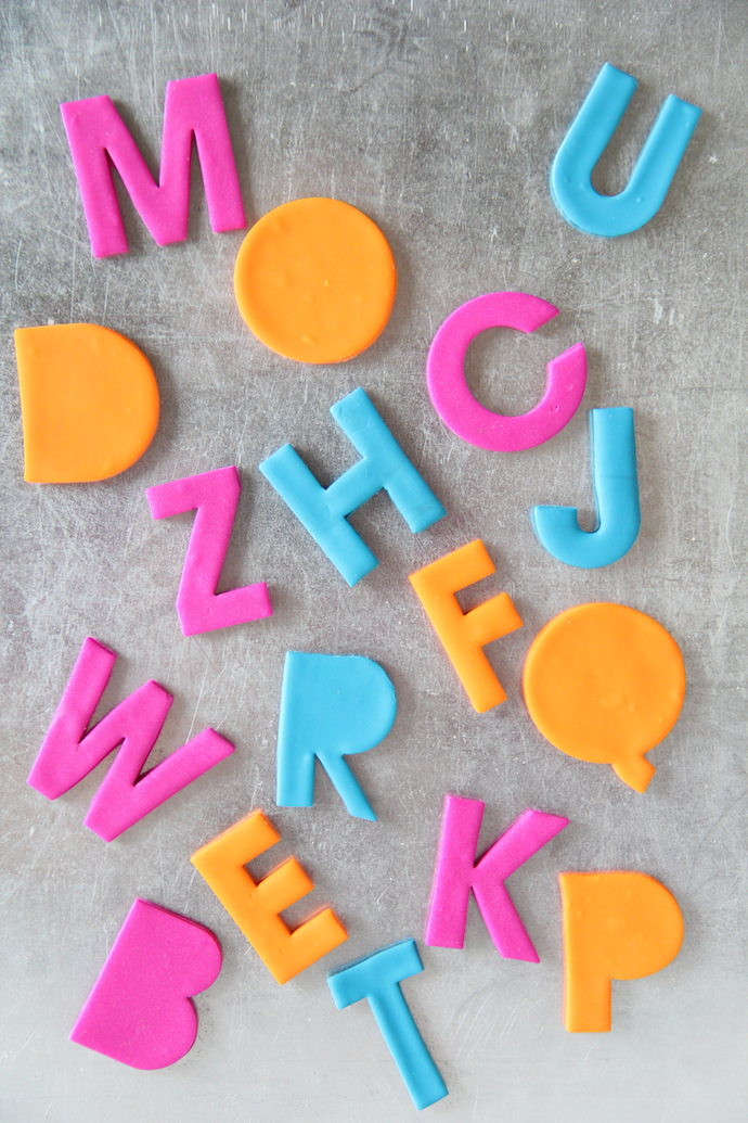 DIY colorful clay alphabet magnets