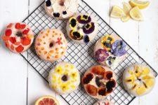 DIY glazed floral donuts