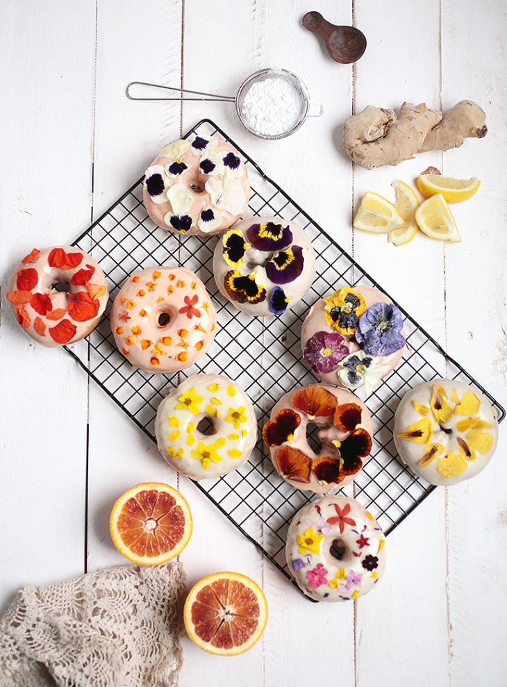 DIY glazed floral donuts (via themerrythought.com)