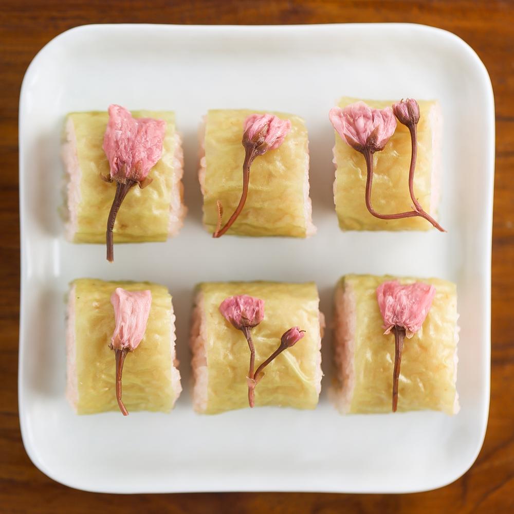 DIY sakura blossom sushi