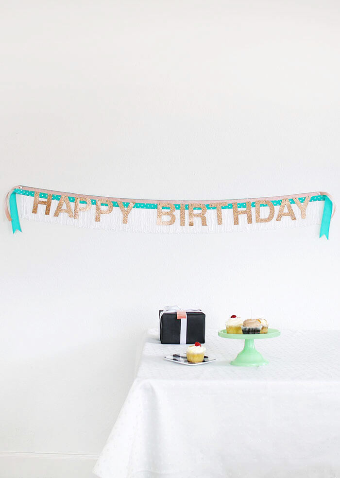 DIY fringe birthday banner (via https:)