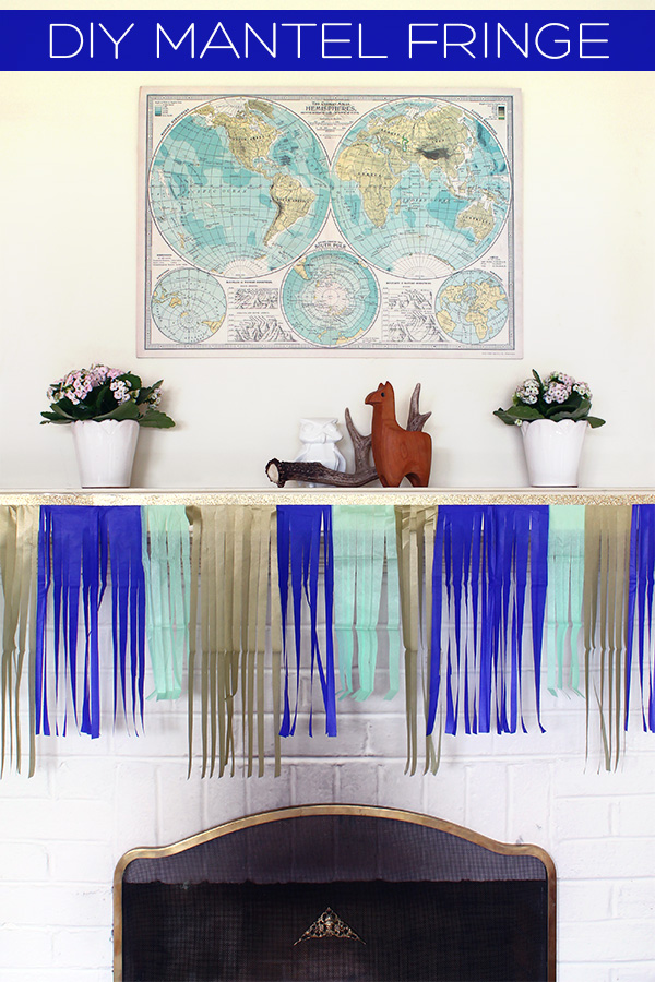 DIY fringe mantel decor (via squirrellyminds.com)