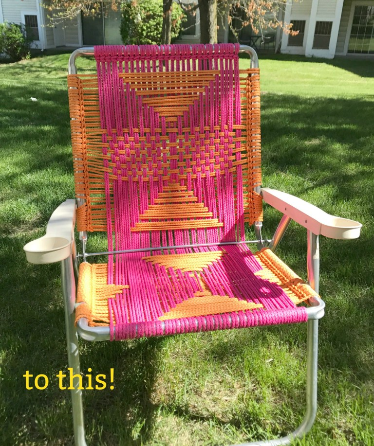 colorful DIY macrame lawn chair (via www.myfrenchtwist.com)