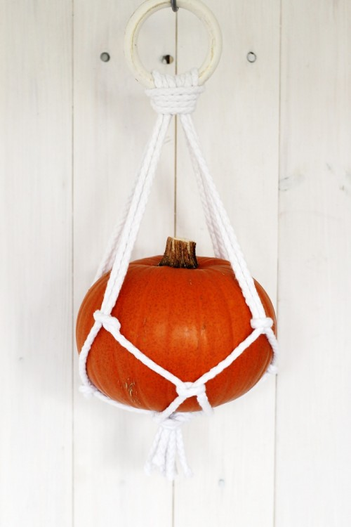 DIY macrame pumpkin holder (via www.shelterness.com)
