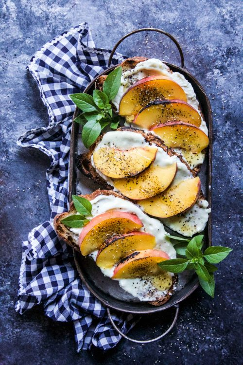 DIY grilled peach and whipped blue cheese toast (via www.climbinggriermountain.com)