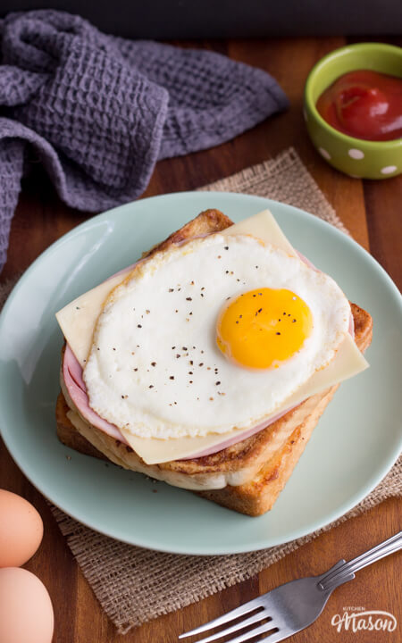 DIY French toast with ham, an egg and cheese (via https:)
