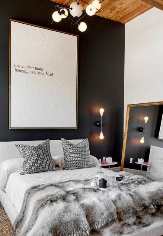 add a faux fur blanket to your bed to feel warm at night and make your bed look textural