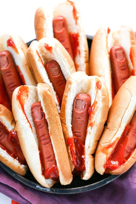 Halloween bloody finger hot dogs will frighten even adults