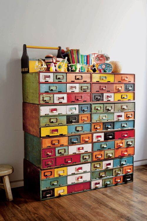 a colorful Ikea Moppe hack with all colors of rainbow and vintage handles