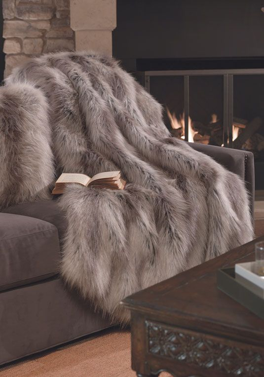 faux fur silver fox blanket to cuddle up in the evening