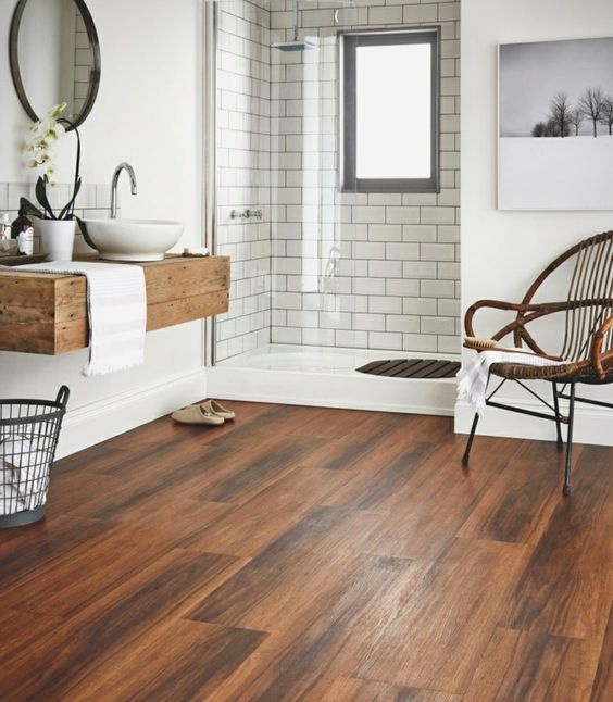 porcelain tiles looking like wood add a cozy feel to the space