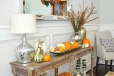 entryway pumpkins display