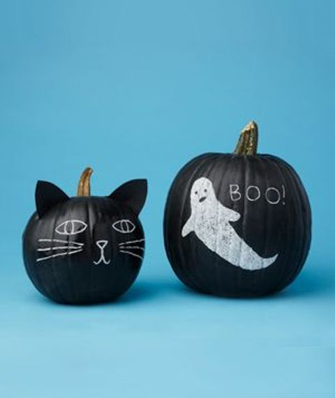 chalkboard pumpkins with a ghost and a cat face - but you can change them any time