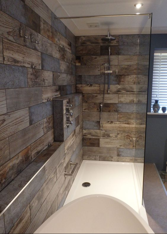 tiles with reclaimed wood effect look very interesting and eye-catching and won't be spoilt by moisture