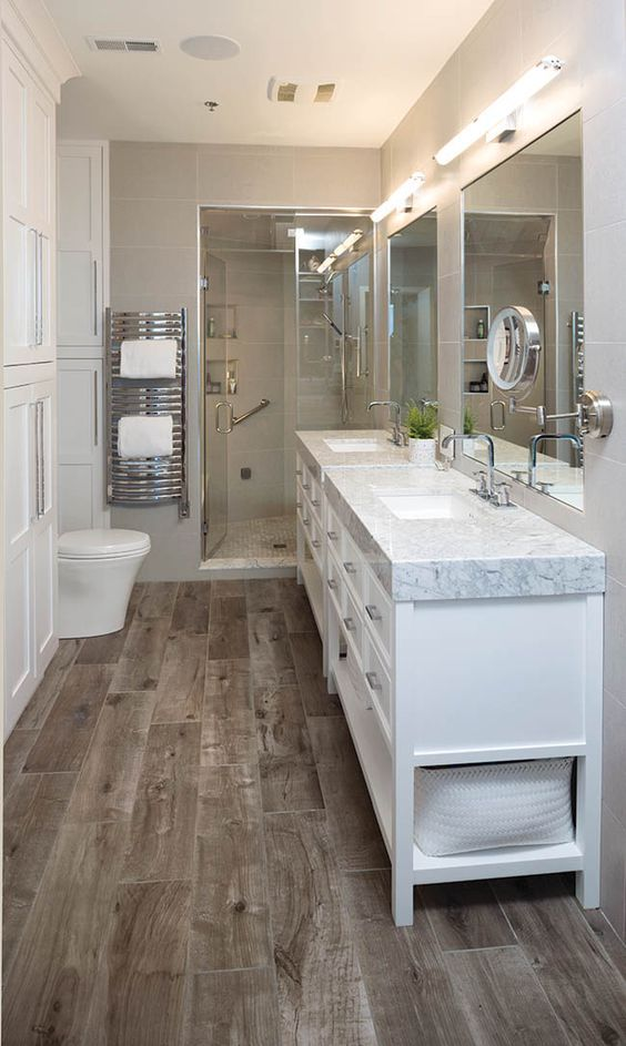 15 stylish ways to add rustic touches to your bathroom for Warm feel bathroom floor tiles
