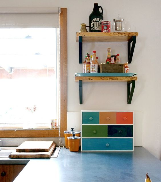 Ikea Moppe hack with different paints as a kitchen tea chest