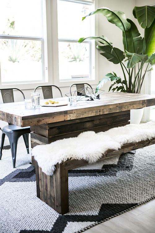 cover a usual reclaimed wood bench with faux fur to make it comfier and softer