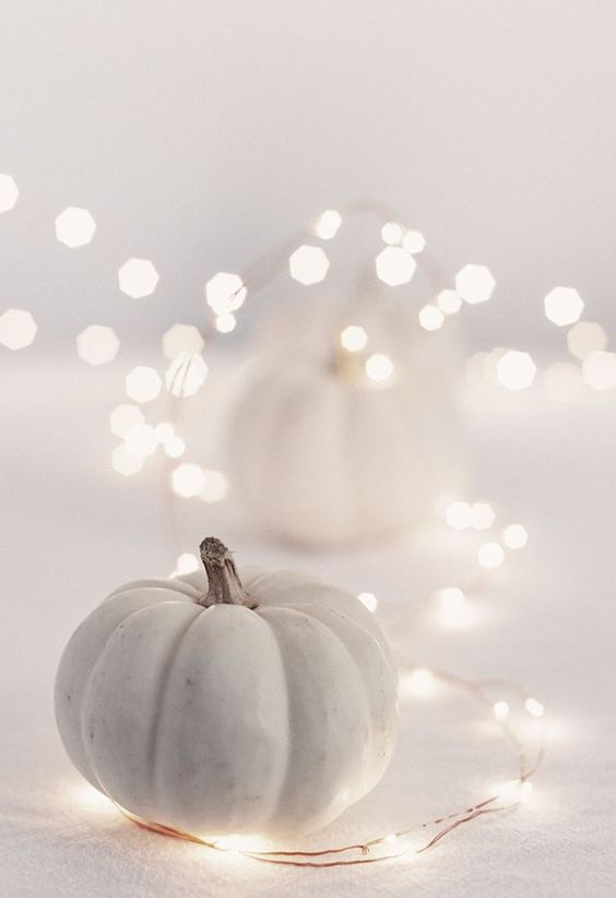 place simple pretty pumpkins and surround them with LED lights to creat e amodenr hallowene ambience