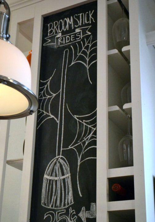 a chalkboard art created for Halloween kitchen decor