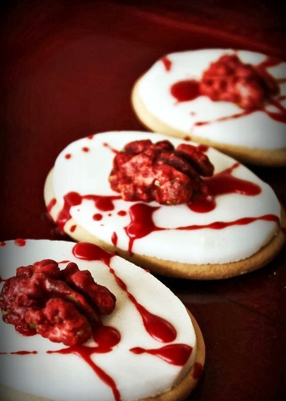 brain cookies made with nuts and red sauce instead of blood