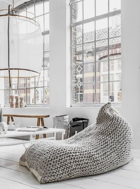 a chunky knit oversized bean bag chair or lounger for a modern interior