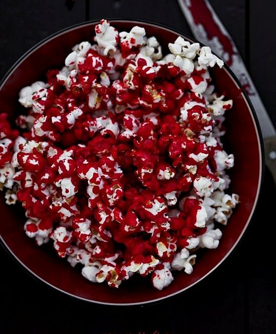 bloody popcorn is an easy dessert to make and will fit any party theme