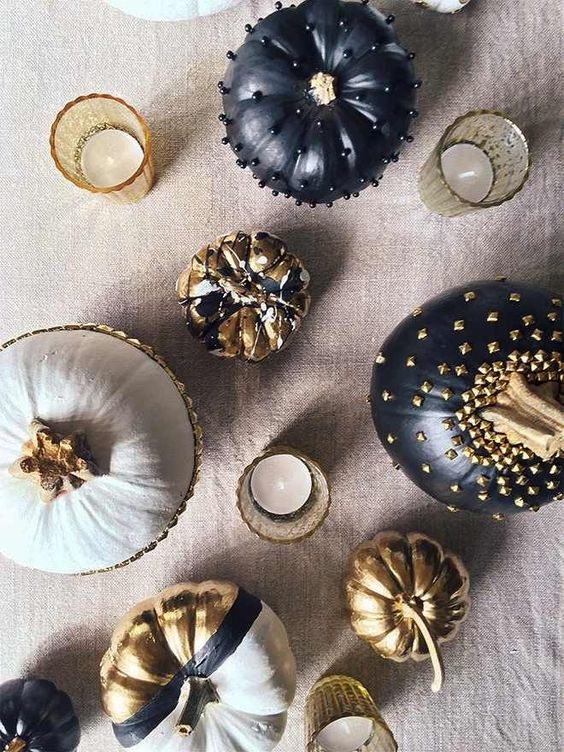 glam white, gold and black pumpkins with beads and a glossy finish